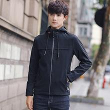 秋季男裝2018青年韓版修身連帽夾克潮牌簡約純色個性外套男