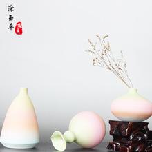 景德镇陶瓷小花瓶 彩绘渐变花插创意桌面客厅陶瓷小摆件