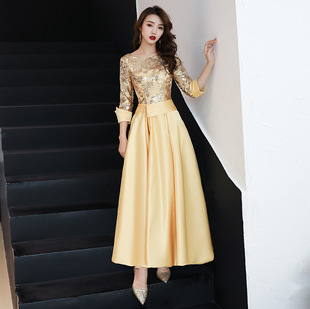 Golden mid-length evening dress 2021 spring new banquet women's annual meeting dignified elegant dignified slim dress skirt