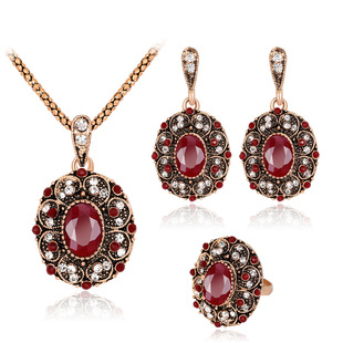 Retro style series necklace set, plating ancient KC gold ruby necklace earrings ring three-piece set Danby