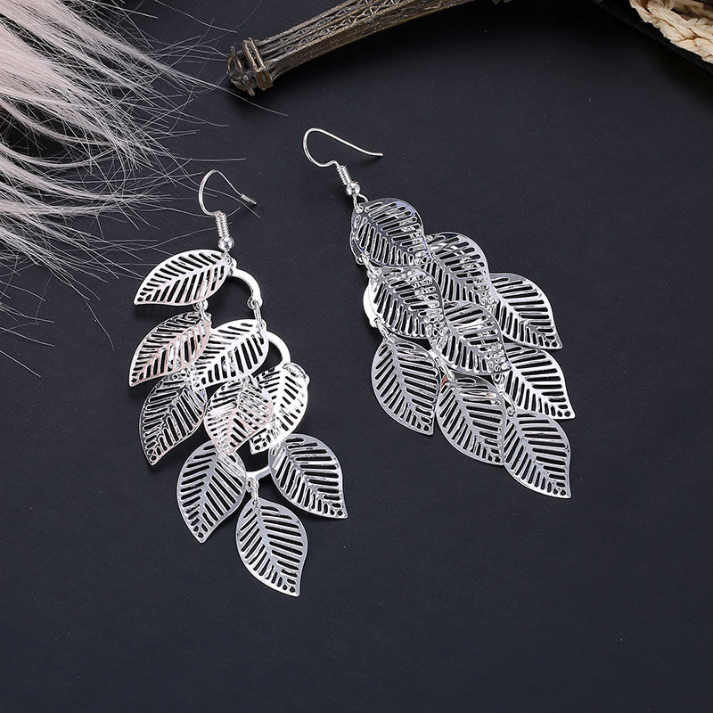 Fashion OL simple gold and silver multi-layer hollow leaf earrings NHDP171383