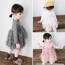 阿木猴童裙韓國春秋季新品女童假兩件針織坑條上衣蓬蓬紗裙蛋糕裙