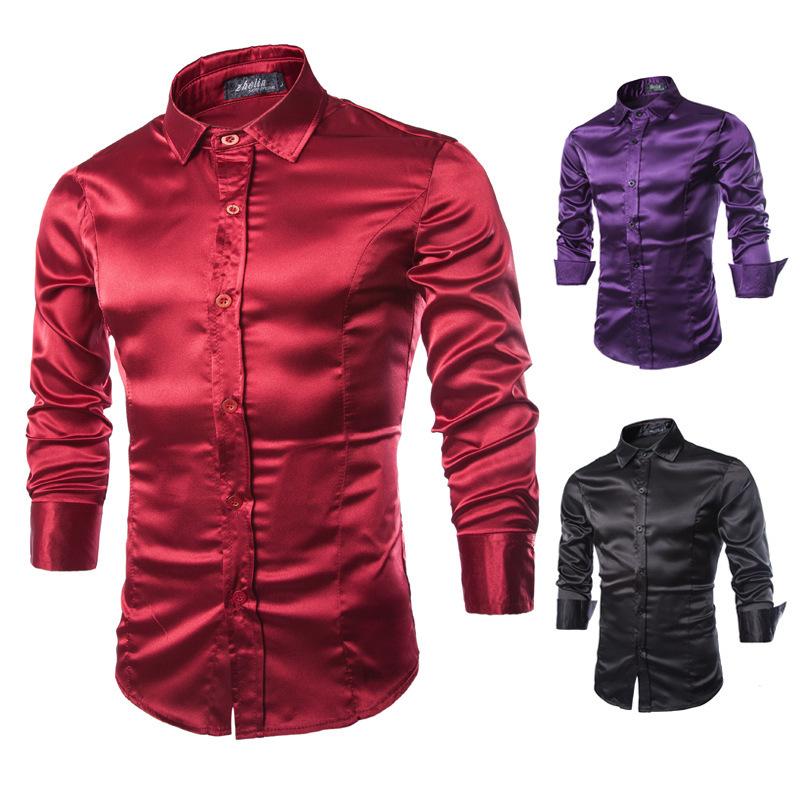 Spring Korean imitation silk shiny bright face casual men's solid color slim long sleeve fashionable shirt C54