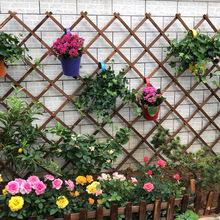 碳化防腐实木栅栏 伸缩木拉网木篱笆围栏 室内墙面网格壁挂爬藤架