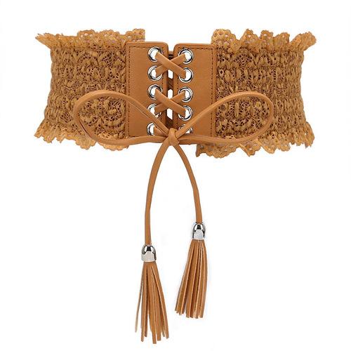 women's waistband sashes for evening dresses dance dress versatile tassel elastic waist seal bud sexy wide belt dress accessories