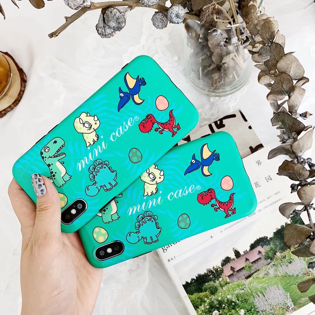 iPhoneX soft side Blu-ray IMD for Apple XR anti-fall small dinosaur mobile phone shell Japan and South Korea wind iPhone8p shell