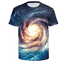 速賣通爆款熱賣漩渦星空創意數碼印花t恤 男式運動打底衫貨源批發