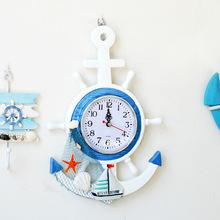 地中海家居装饰品墙贴钟 木质壁饰挂钟 墙壁挂饰海洋风格墙上壁钟