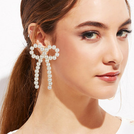 E4680 fashion exquisite fashion trinkets simple pearl bow 925 silver needle earrings pearl earrings