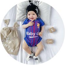 MINI贝贝城 2018年婴幼童夏装连体衣爬服 世界杯球服队服宝宝哈衣
