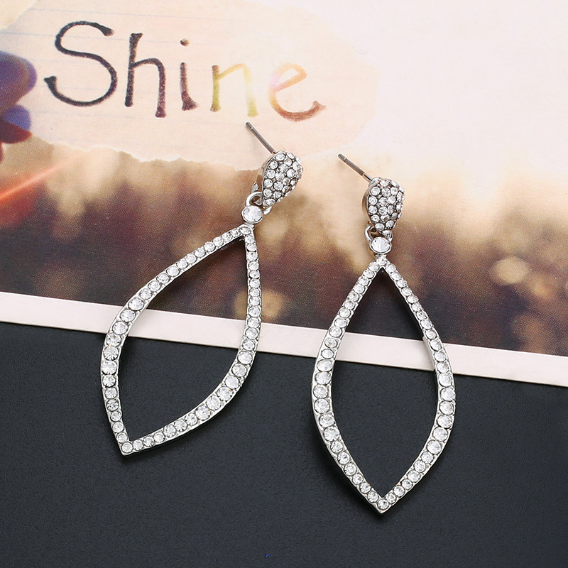 Imitated crystal&CZ Simple Geometric earring  (black)  Fashion Jewelry NHAS0504-black