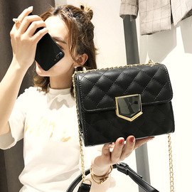 Spring and summer new lock buckle lattice chain small square bag simple fashion shoulder diagonal package