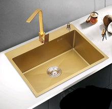 304不銹鋼廚房金色納米水槽單槽臺下盆手工小號洗菜盆洗碗池批發