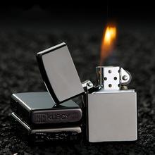 KUBOY酷寶純銅煤油打火機不銹鋼機芯黑冰防風火石砂輪機個性定制