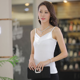Summer sexy Modal cotton sling shirt looks thin and elastic, professional dress, bottom sling shirt, white vest, female, white vest, white vest