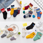 A new model of childrens socks, cotton, color matching, three bars, male Tong Baobao socks, and loose stockings for students.