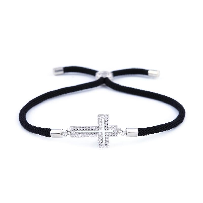 Copper Korea Cross bracelet  (Red rope cross)  Fine Jewelry NHAS0428-Red-rope-cross