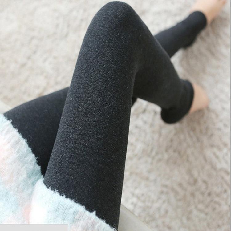 单层棉修身针织保暖打底裤 不起球高弹百搭小清新秋季踩脚一体裤