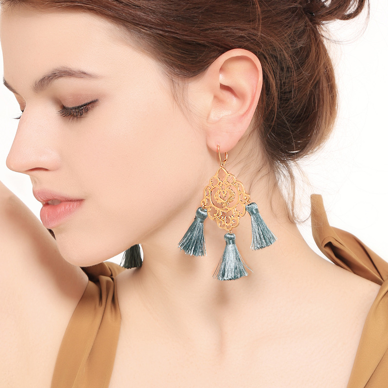 Alloy Fashion Flowers earring  (Photo Color) NHQD5342-Photo-Color