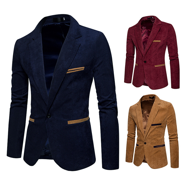Foreign trade men's spring and autumn new men's wear men's Corduroy solid color casual Blazer coat suit