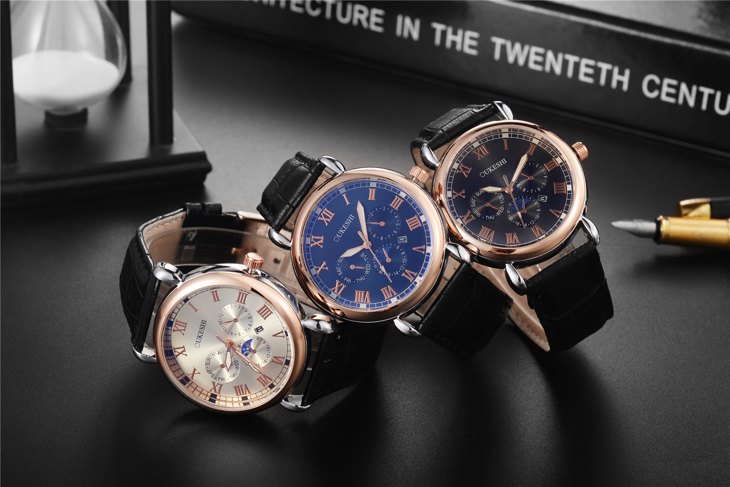 High-grade blue light glass strap quartz watch male waterproof Roman scale leather strap business watch NHSY193630