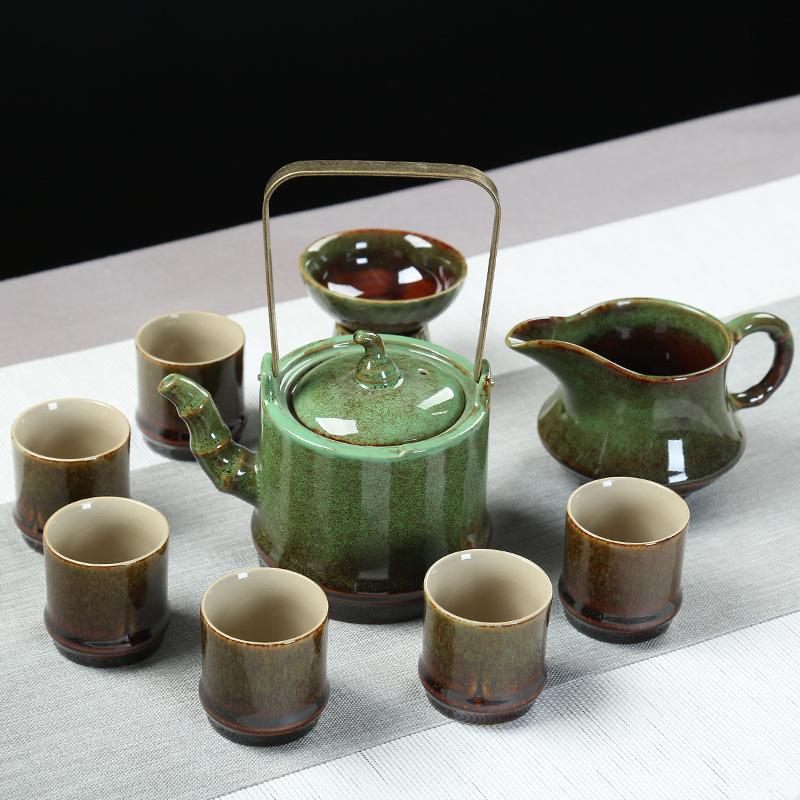 产家直销德化陶瓷茶具套装窑变功夫茶具整套高档商务礼品套装批发
