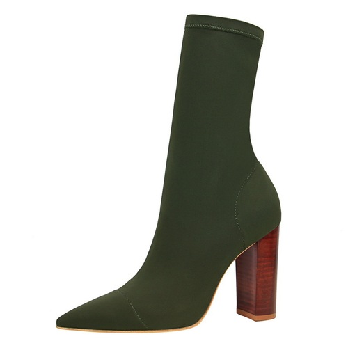 3129-3 the European and American fashion contracted wood grain with pointed with thick with high elastic leica sexy nightclub show thin short boots