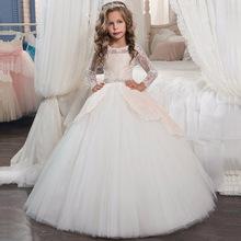 2018秋冬欧美爆款儿童礼服长女童蕾丝花边长袖公主裙亚马逊ebay