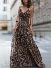 2018 Ebay速卖通欧美时尚豹纹印花V领吊带连衣裙 长裙