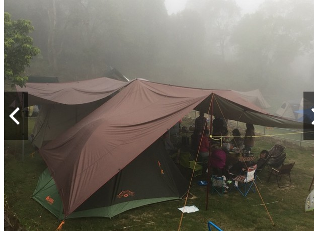 Thickened coffee canopy cloth Awning tent Outdoor tent camping canopy 5*8 meters coated silver canopy