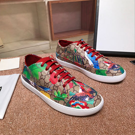 New low-top men's shoes with western fashion leather printing Chinese style low-top lacing shoes