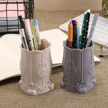 A2603 欧式化妆品收纳盒眉笔桶 多用桌面办公收纳盒塑料收纳笔筒