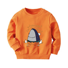 Autumn and winter new boy cotton cartoon long-sleeved sweater children's bottoming shirt baby hooded sweater
