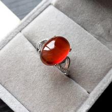 爆款 天然橙石榴石银戒指 手工镶钻  开口 可调节 欧美女式戒指