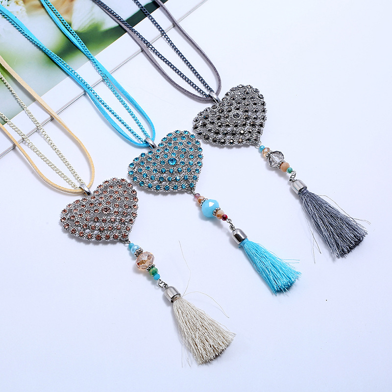 Alloy Fashion Tassel necklace  (red) NHPK2082-red