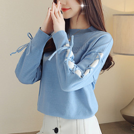 Autumn dress new women's loose round-collar pullover autumn and winter long-sleeved bottomed sweater blouse