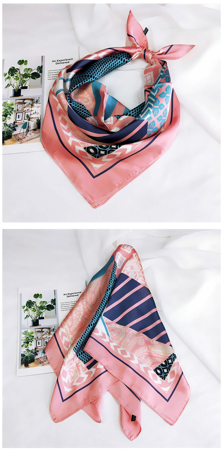 Geometric small scarf female Korean turban work professional scarf NHMN195176