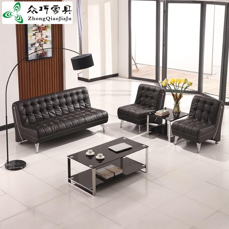休闲现代西皮办公家具耐磨PU皮艺办公沙发简约三人位商务沙发直销