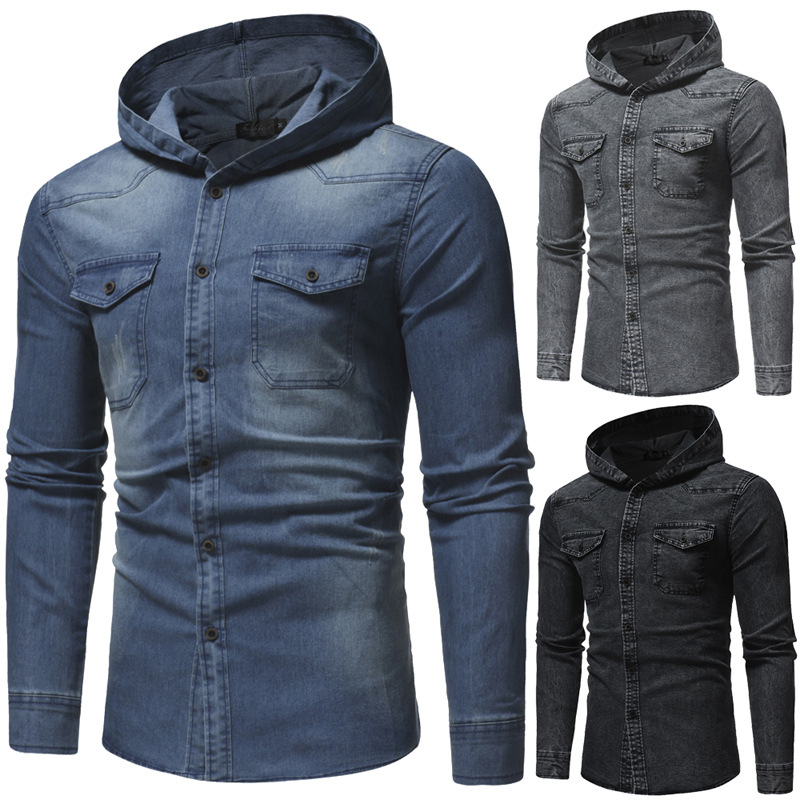 Quick sell men's autumn and winter new style washed men's casual slim fit long sleeve hooded denim shirt