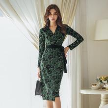 印花連衣裙2019早春新款優雅顯示高端百搭大牌宴會禮服蛇皮紋女裝