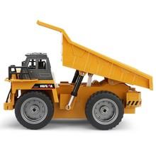 匯納540 6通合金版遙控工程車自卸車 兒童玩具模型 帶燈光音效