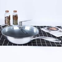 Нержавеющая сталь трехслойный вок без Сотовые дымы без Покрытые wok удобные производители подарочных кухонь могут быть настроены