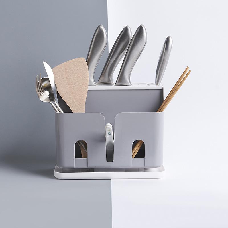 北欧风多功能落地刀架 厨房用品筷子笼饭勺餐具收纳塑料置物架