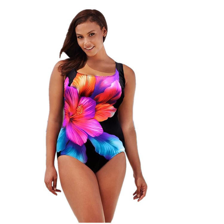 2019 Europe and the United States New Beach Swimsuit Bikini popular rose print increase one piece wholesale