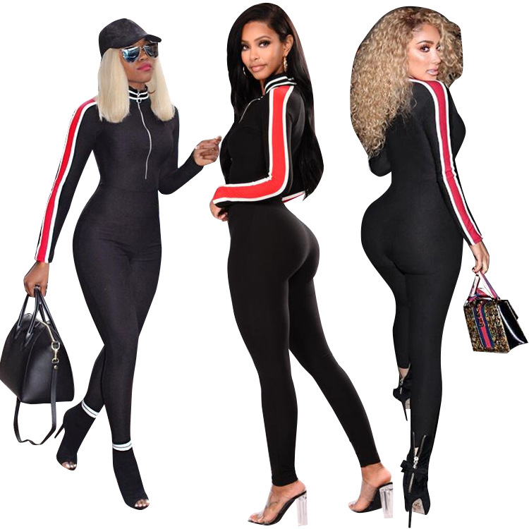 Women Striped Long Sleeves Zipper Casual Bodycon Club Party Jumpsuit Rompers