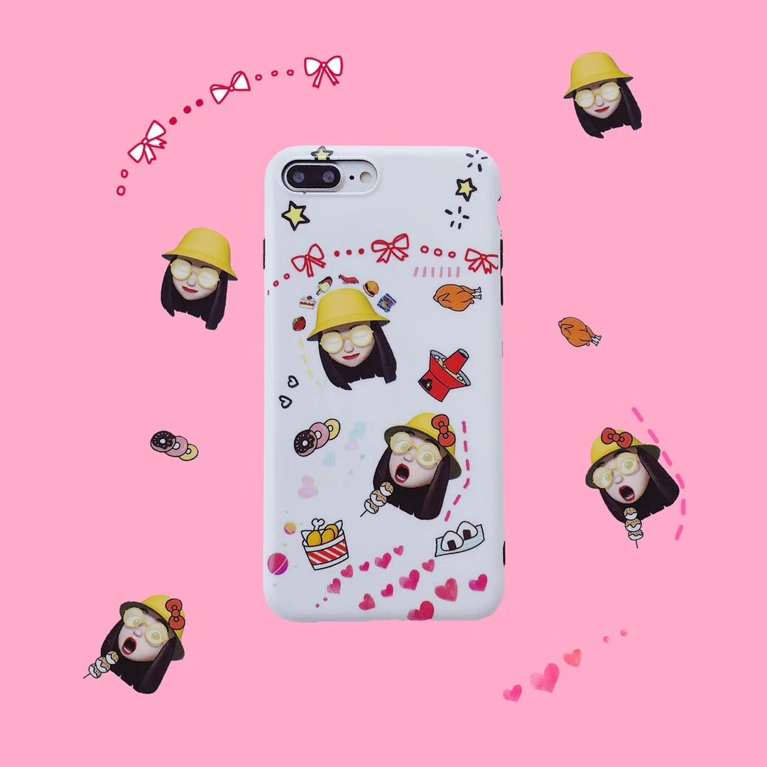 Apple X Japanese and Korean style expression pack fun little girl for iphone8 cute mobile phone shell 7plu all-inclusive black side