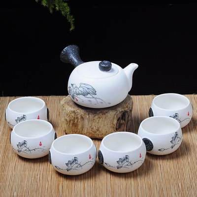 茶具特价7头雪花釉茶具套装批发 陶瓷功夫茶具促销礼品 定做LOGO