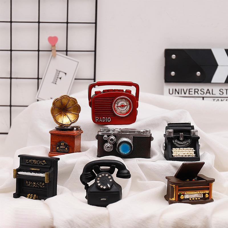 复古怀旧树脂工艺品礼品家居装饰迷你小摆件摄影道具相机留声机