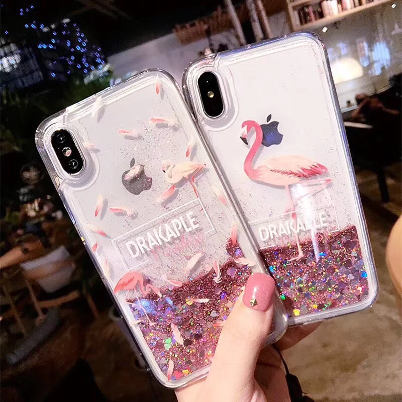 Creative quicksand flamingo iphonex mobile phone shell 7plus liquid glitter apple 6splus protective sleeve lanyard