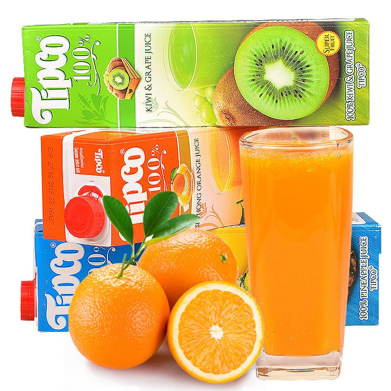 泰国进口泰宝/Tipco苹果猕猴桃果汁多种口味饮料批发1L*12瓶/箱